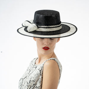 Sinamay Boater Hat in Black and Ivory