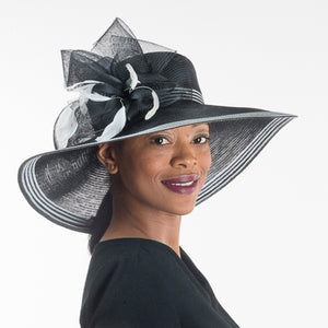 Wide Brim Black And White Dress Hat