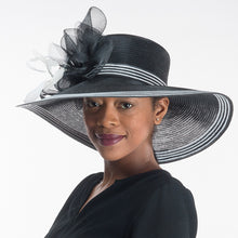 Load image into Gallery viewer, Black / White Wide Brim Dress Hat For Women