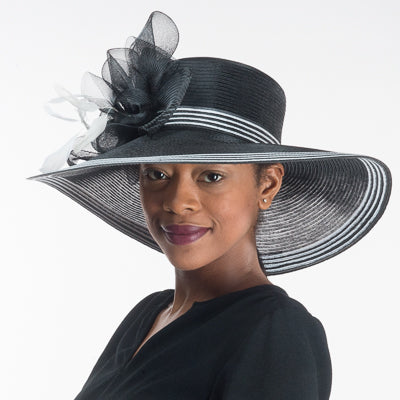 Black / White Wide Brim Dress Hat For Women