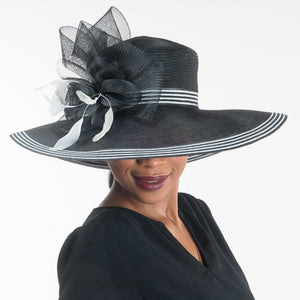 Front View Black And White Wide Brim Dress Hat