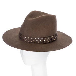 Products Bronwyn | Wool Felt Fedora Hat with Polka Dot Headband
