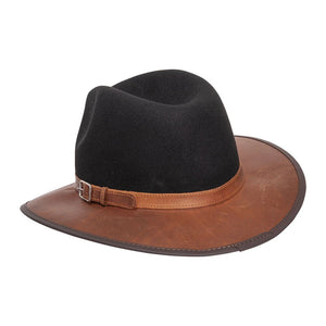 Josey | Outback Leather Fedora Hat rear