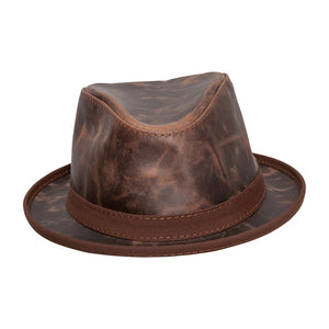 Packable Leather Hat In Chocolate