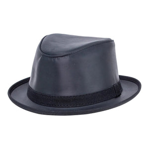 Packable Leather Hat In Black