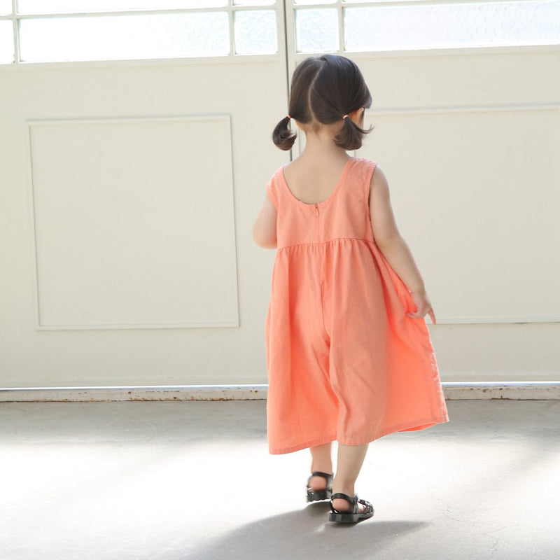 Kid's Wide Leg Jumpsuit - Orange