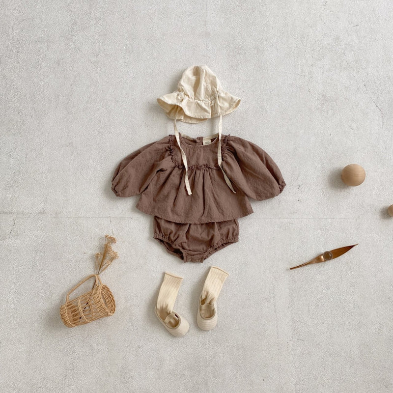 Becky Blouse Set - Chocolate