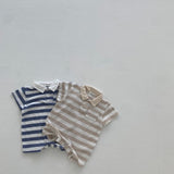 Collared Striped Romper - Beige