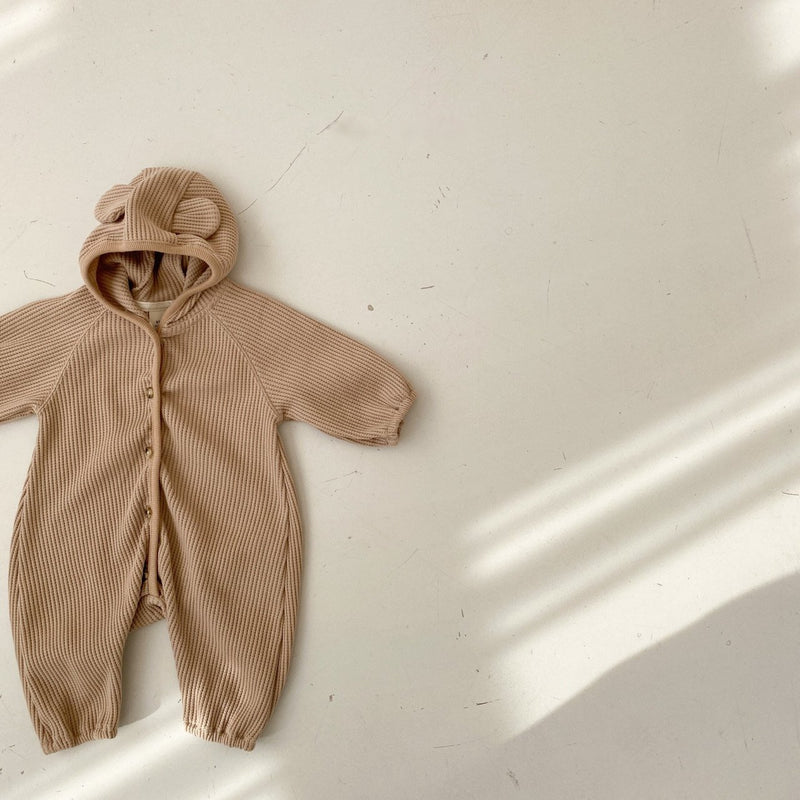 Bear Waffle Jumpsuit - Brown