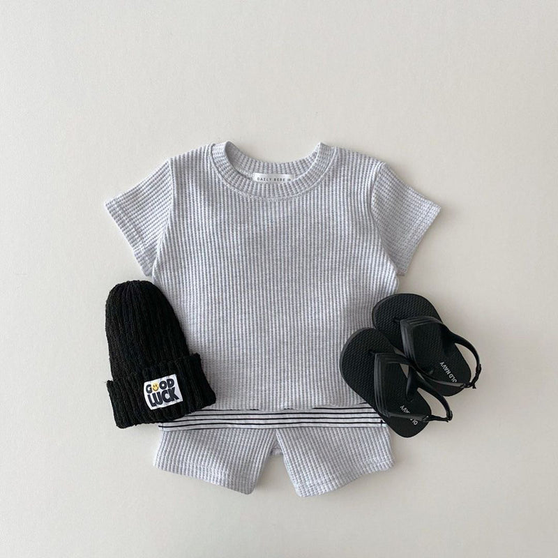 Chloe Waffle Set - Heather Grey