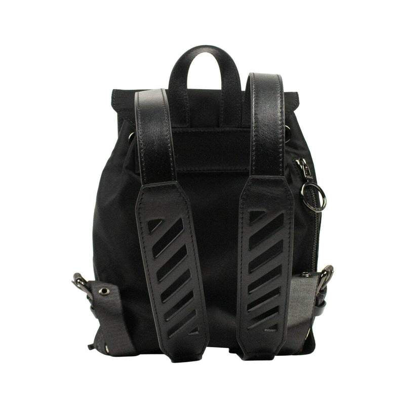 OFF-WHITE Black Nylon Foldover Mini Backpack