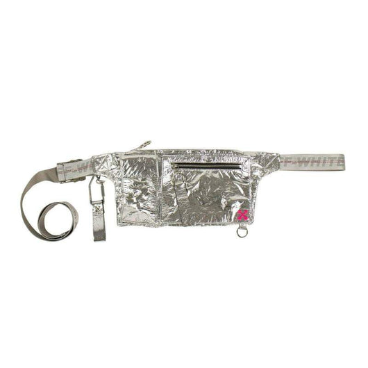 OFF-WHITE Silver Metallic Froisse Fanny Pack Bag - Rare Boutique LLC