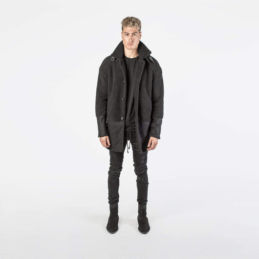 Kollar Shearling Overcoat - Black - Rare Boutique LLC