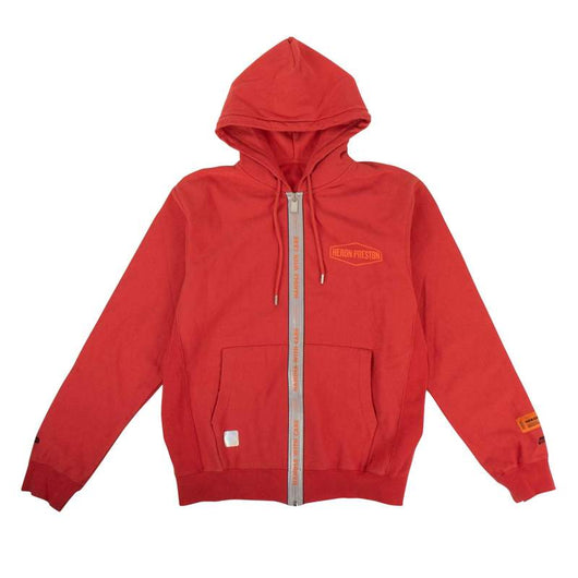 Heron Preston Red Contrast Trim Logo Zip Hoodie - Rare Boutique LLC