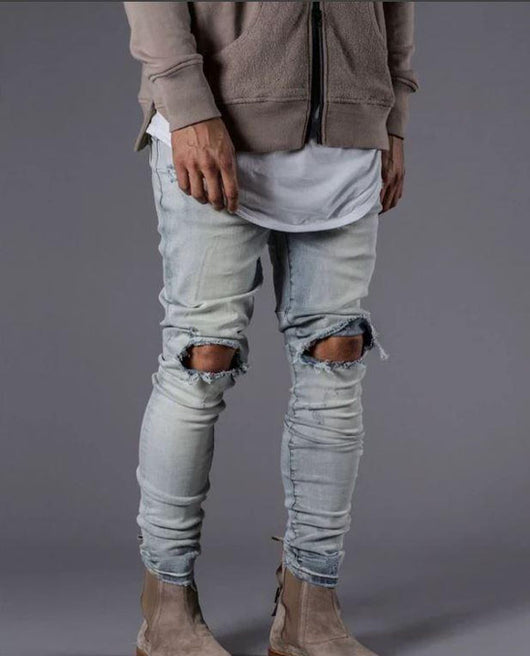 Kollar Destroyed Knee Denim - Bleach - Rare Boutique LLC