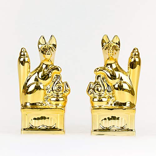 Yamako Shinto Ceramic Gold-Plated A Pair of Foxes, 3.9-Inch