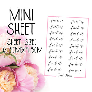 Mini sheet: Fuck it