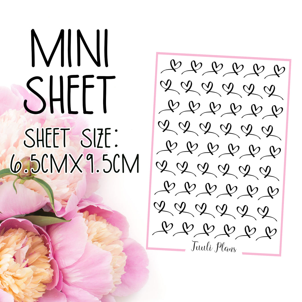 Mini sheet: Script hearts
