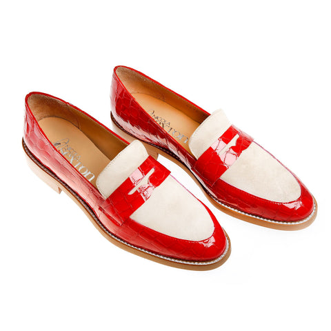 Nicola Sexton Red Croc Loafer
