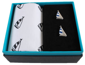 Yacht handkerchief and cufflinks set