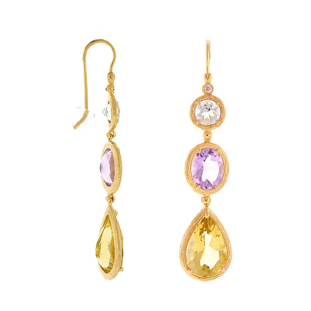 Herco Multi Color Stones Drop Earrings