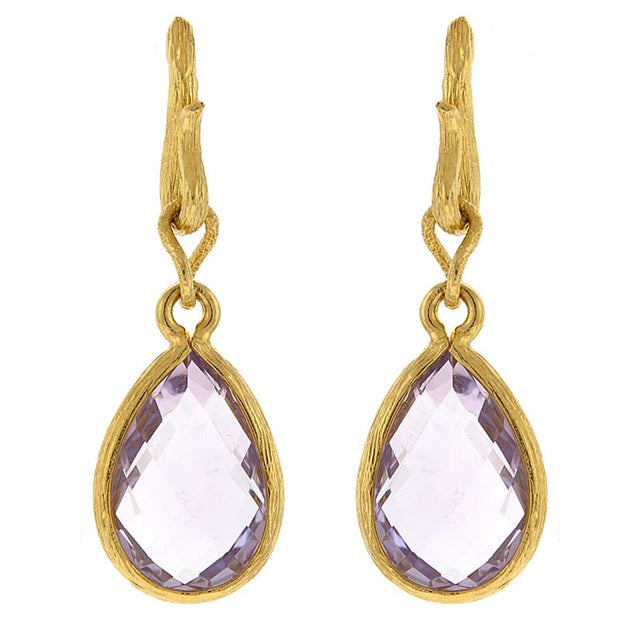 Herco Yellow Gold Pink Amethyst Earrings