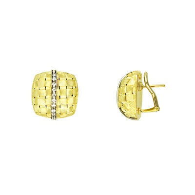 Gold Basket and Diamond Earrings