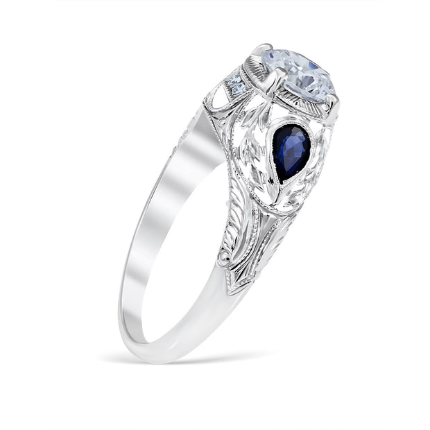 Wreathed Pear Sapphire Engagement Ring