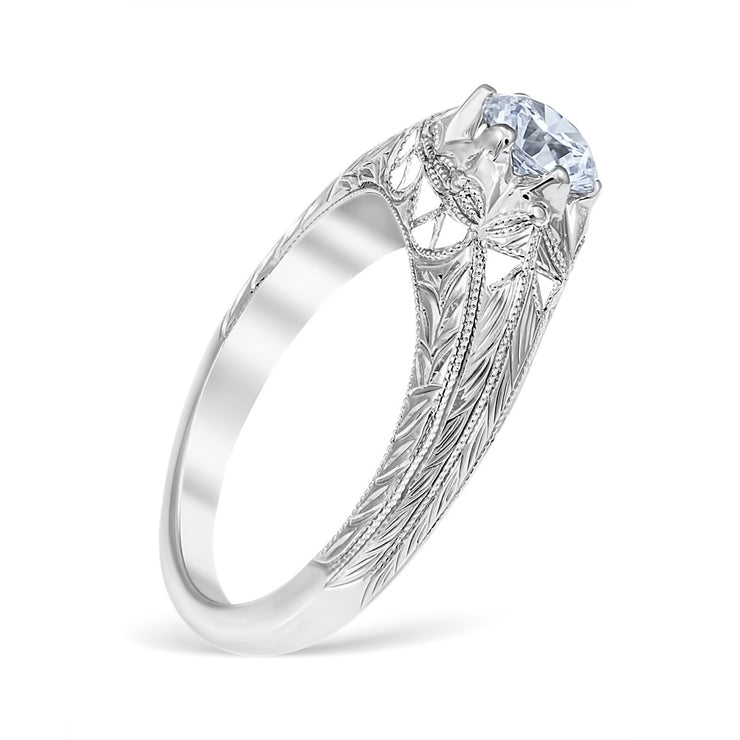 Sweeping Lace Vintage Style Engagement Ring