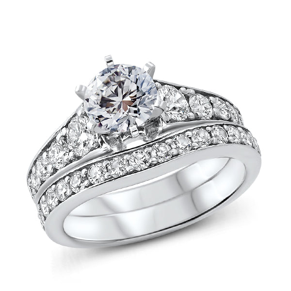 Solitaire Diamond Ring with Graduated Side Diamonds