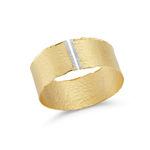 Gold Hammered Cuff with Diamonds
