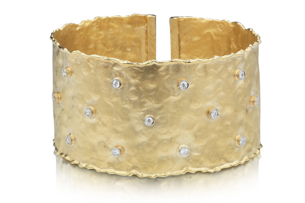 Hammered Yellow Gold Cuff with Scattered Diamonds