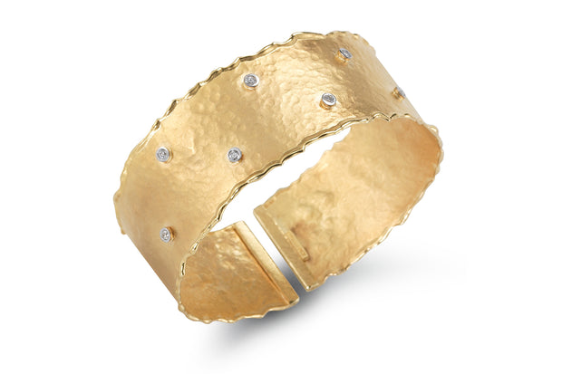 Yellow Gold Cuff with Bezel Set Diamonds