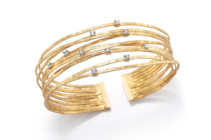 Multi-Strand Cuff Bracelet with Scattered Diamonds