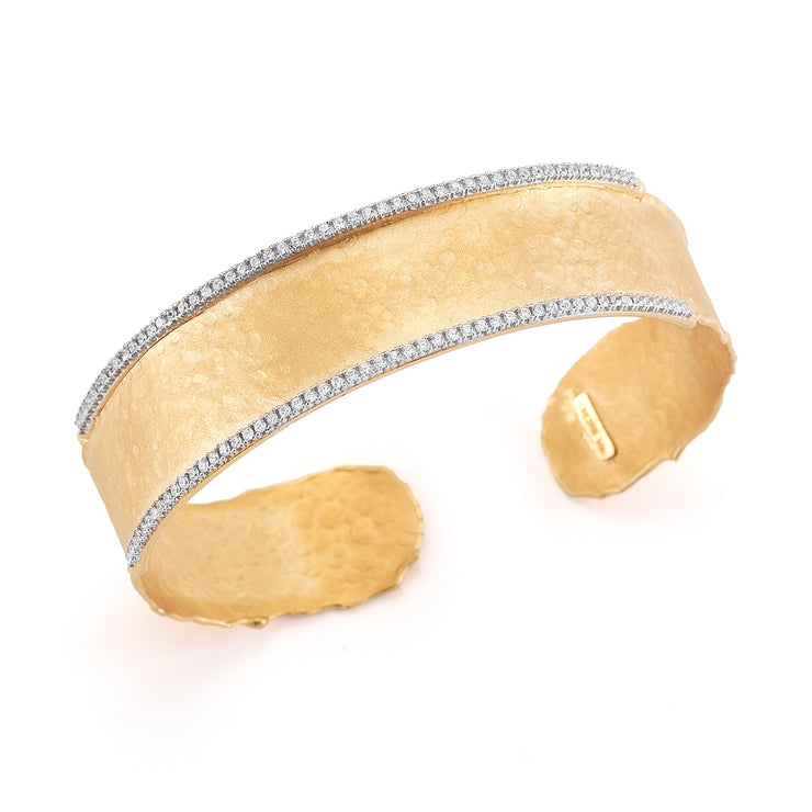 Matte Hammered Narrow Cuff with Diamonds