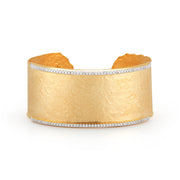 Matte Hammered Gold and Pave Cuff