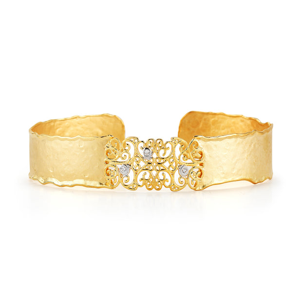Yellow Gold Filigree Cuff with Diamonds