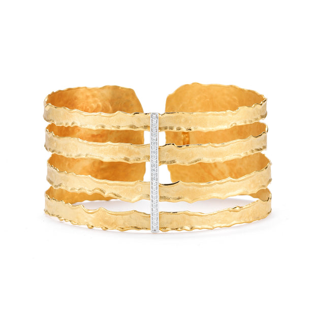 Yellow Gold Cut-Out Cuff with Pave Diamonds