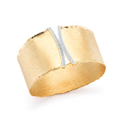 Yellow Gold Matte Hammered Cuff with 0.60 Carat Pave Diamonds