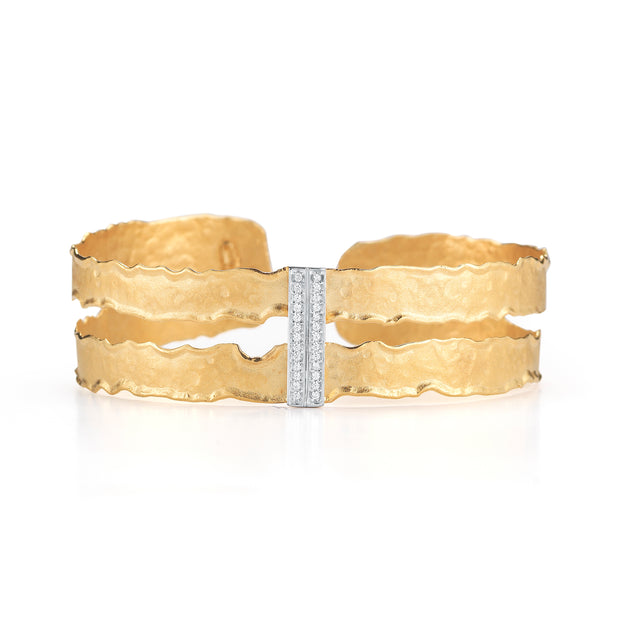 Gold Narrow Cut-Out Cuff with Pave Diamonds