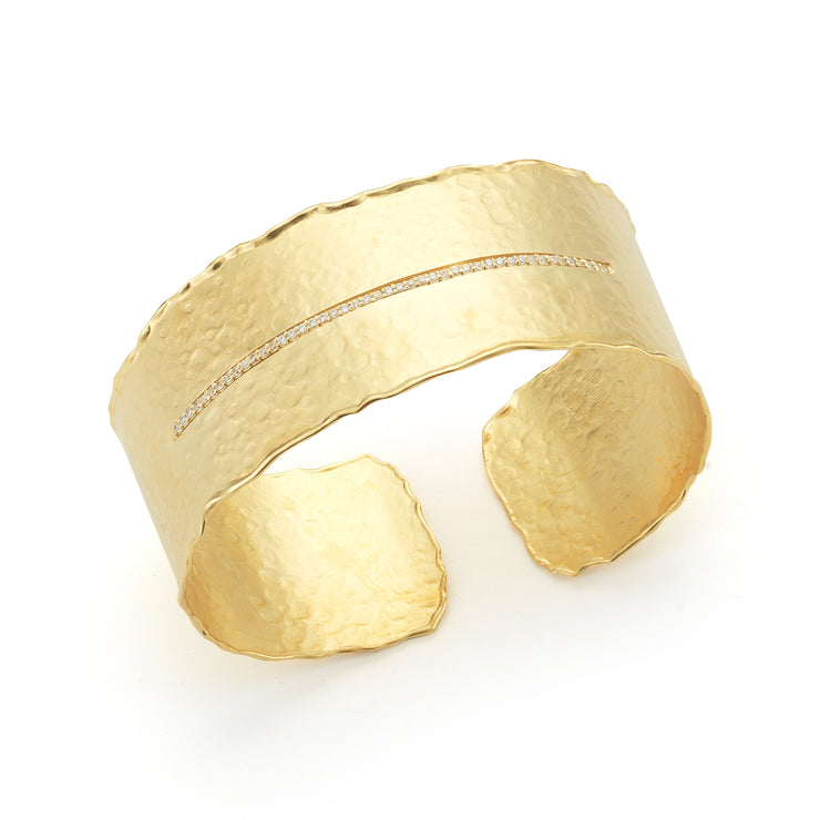 Gold Matte Hammered Cuff with Pave Bar