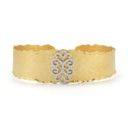 Yellow Gold Filigree Cuff with .70 Carats Pave Diamonds