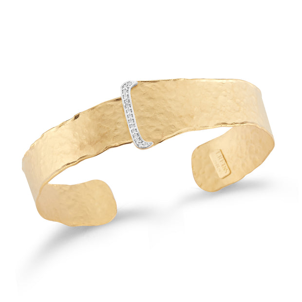 Yellow Gold Open Narrow Cuff with Pave Buckle Design