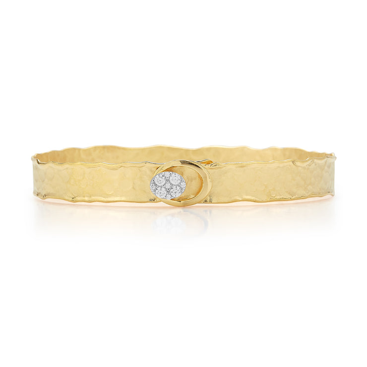 Yellow Gold Oval Button Cuff with Diamonds