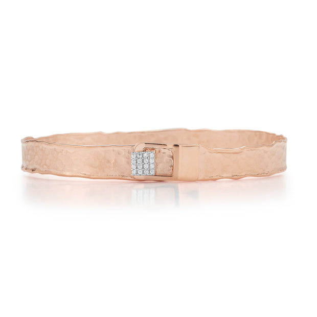 Rose Gold Square Button Cuff with Pave Diamonds