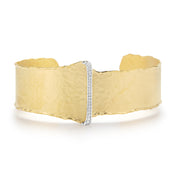 Yellow Gold Open Cuff with Pave Buckle Design