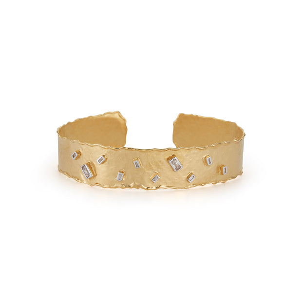 Yellow Gold Narrow Cuff with Scattered Baguette Diamonds