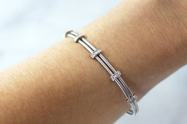 Lightweight Diamond Cable Bangle (Multiple Colors)