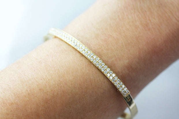 Classic Diamond and Gold Bangle (Multiple Colors)
