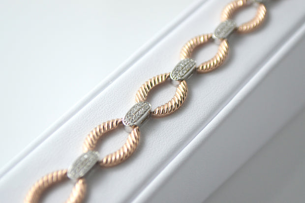 Two-Tone Diamond Link Bracelet